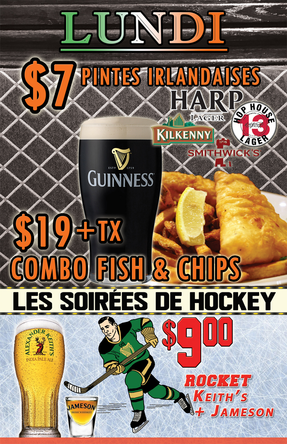Monday Irish Pints Fish and Chips FR RGB